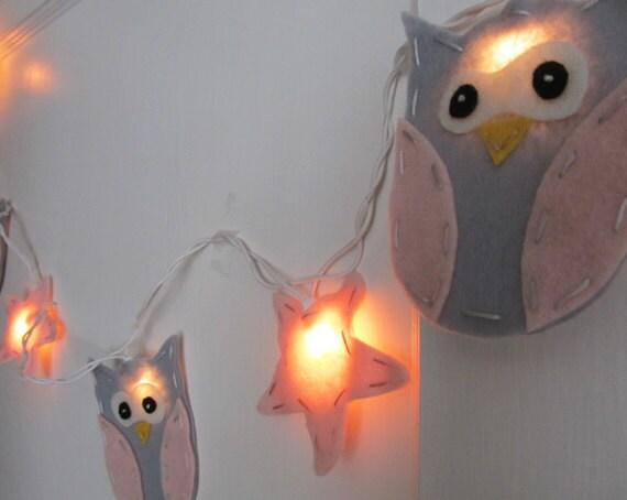 String Lights In Nursery : Nursery Night light Owl & Star String Lights/Nightlight