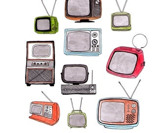 Illustration of Vintage Televisions