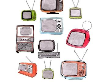 Illustration of Vintage Televisions