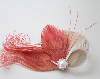Wedding Bridal White Champagne Coral Pink Peacock Feather Rhinestone Jewel Head Piece Hair Clip Fascinator