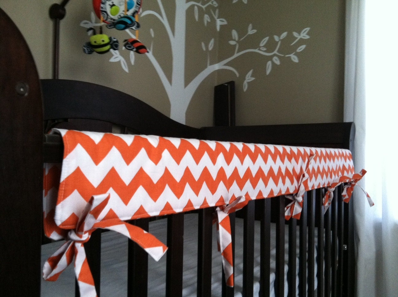 Crib Teething Rail Padded Cover With Fabric Ties 51 Inches