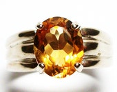 "Citrine, citrine ring, solitaire ring,  birthstone ring, golden yellow,   s 7 ""Rachel Marie"""