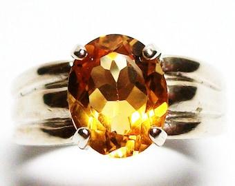 "Citrine, citrine ring, solitaire ring,  birthstone ring, golden yellow,   s 7 ""Rachel Marie"""