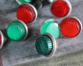 2 Vintage Small  Green Reflectors