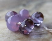 lampwork glass bead set - transparent and opaque purples with fine silver