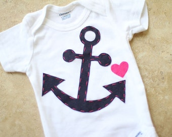 Girly Nautical Anchor Onesie - Made to Order