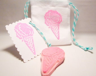 Icecream Stamp, Hand Carved Rubber Stamp, Craft Supply, Ice Cream Cone Stamp, Card Making, Birthday Party Stamp