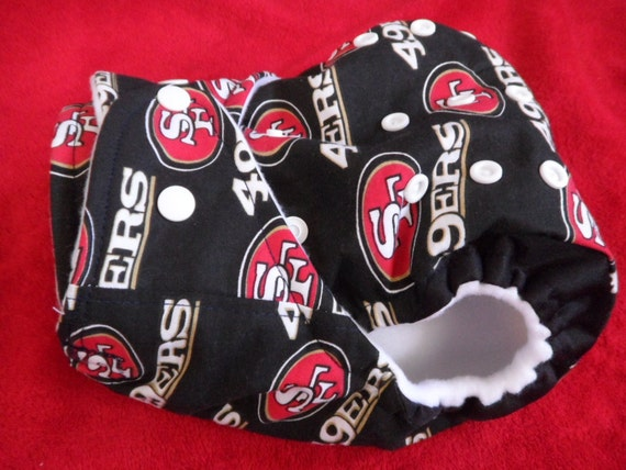 SassyCloth one size pocket diaper with 49ers cotton print. Made to order.