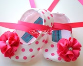 Shocking Pink Polka Dot Baby Shoes Soft Ballerina Slippers Baby Booties