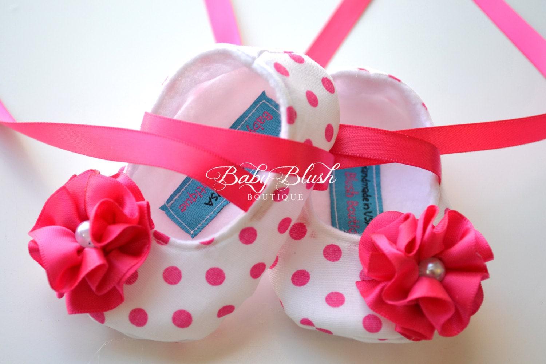 Shocking Pink Polka Dot Baby Shoes Soft Ballerina Slippers