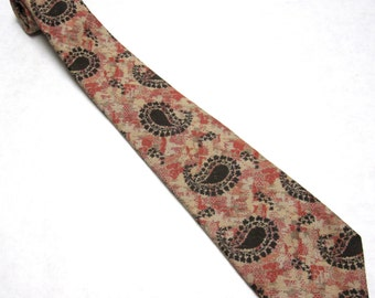 Vintage Don Loper Paisley Necktie Brown Rust Orange Tie