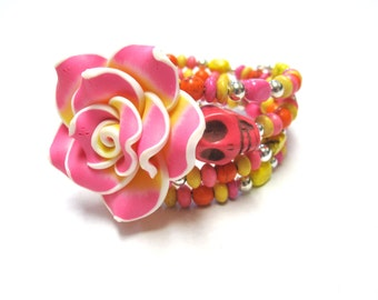 Day of the Dead Bracelet Sugar Skull Wrap Cuff Yellow Silver Pink Rose