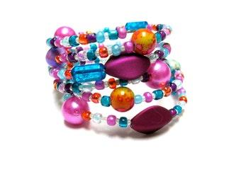 Cheers Wrap Bracelet Beaded Cuff Fuschia Pink Purple Blue