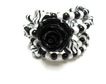 Black White Bracelet Day of the Dead Wrap Cuff Zebra Rose