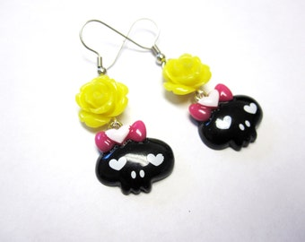 Girly Skull Earrings Day of the Dead Jewelry Yellow Black
