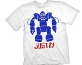 Personalized BOYS ROBOT Space Alien T shirt name Age Birthday Party Tee All Sizes
