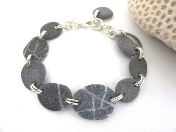 Beach pebble bracelet natural stone jewelry stary handmade for How to make rock jewelry