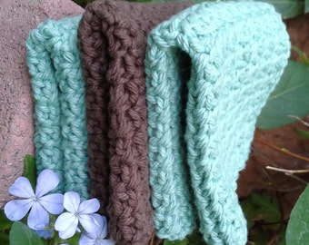 Crocheted Dishcloths - set of 3 in Mint Green and Chocolate Brown