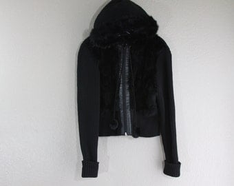 black hooded sweater with genuine rabbit fur front- vintage with a modern style