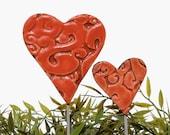 Heart garden art - plant stakes - garden markers - garden decor - heart ornament - ceramic heart - small - red