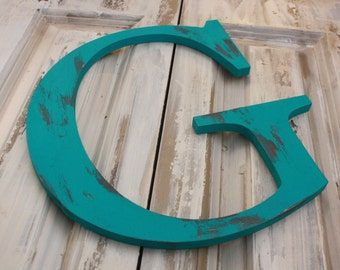 "12"" Distressed painted letter you CHOOSE letter/color large letter"