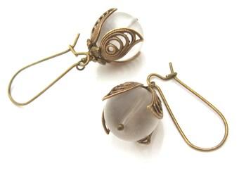 White Bohemian Wedding Earrings - Romantic Brass Earrings - Bridal Earrings