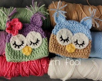 Sleepy Owl Hat - Newborn, Infant, Toddler, Youth, and Adult Sizes