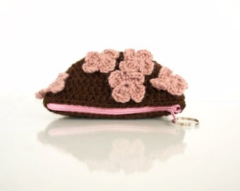 Crochet Coin Purse with Flowers in Chocolate Brown and Pink, Romantic Pouch