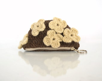 Eco Friendly Crochet Coin Purse with Flowers in Natural White and Natural Brown, Romantic Pouch