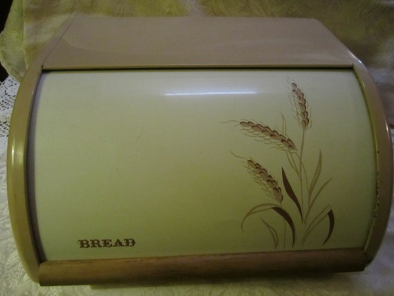 Metal Bread Box 1960s Vintage Tan And White Slide Door Wheat