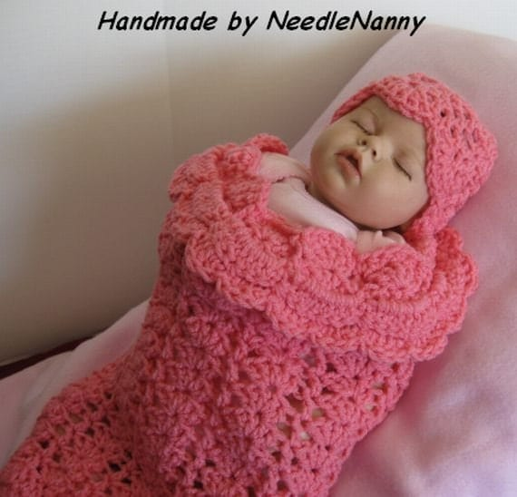 Crochet Pattern For Swaddle Blanket : Crochet Baby Cocoon Bubble Gum Pink Swaddle Sack by ...