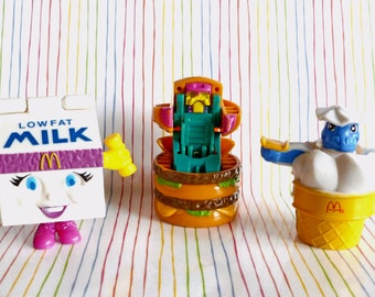 McDonalds Happy Meal Food Toys, Changeables, Robots, Dinosaurs, 1980's, Milk Carton, Cheese Burger, Vintage Toys, 3 in Lot,  Food Toys