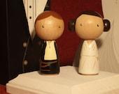 Weekend Sale Only! Star Wars Kokeshi Star Wars Wedding Cake Topper Kokeshi Princess Leia and Han Solo Peg Doll