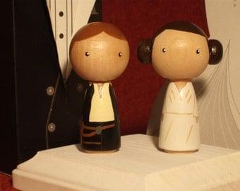 Star Wars Kokeshi Star Wars Wedding Cake Topper Kokeshi Princess Leia and Han Solo Peg Doll