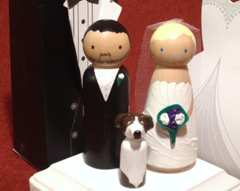 Custom Wedding Cake Toppers with One Pet or Child - Family of Three - Fully Customizable---3-D Accents