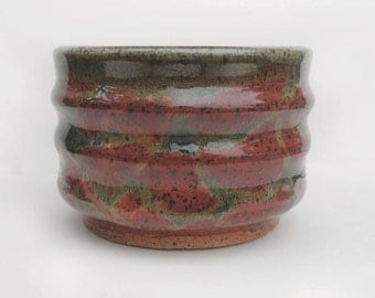 Autumn and Green Swirled and Ridged Tcup or Bowl