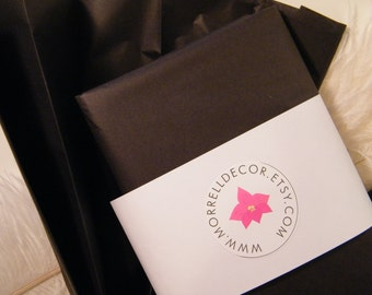 """Black Tissue Paper  Jet Black 48 sheets 20"""" X 30"""" -DIY Wedding Decor - Gift Wrap Idea -Favor Box Packaging-Classic Black and White Event"""
