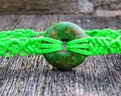 Handmade Micro Macrame Bracelet in Fluorescent Green with Mosaic Turquoise Donut Stone