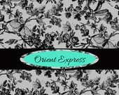Etsy shop banner premade avatar Oriental damask black white multi color six piece etsy store front design