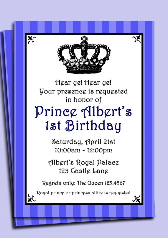 Prince Invitation Printable or Printed with FREE SHIPPING Lil – Little Prince Birthday Invitations