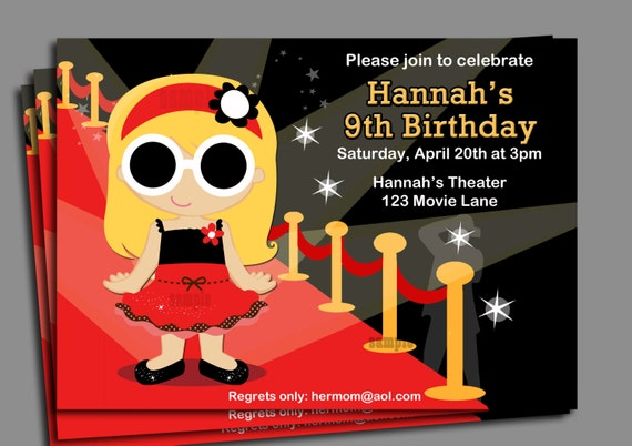 Red Carpet Girl Party Invitation Pick Hair by ThatPartyChick