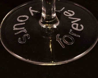 Personalised wedding glass stickers/decals for base of wedding glass (set of 12)