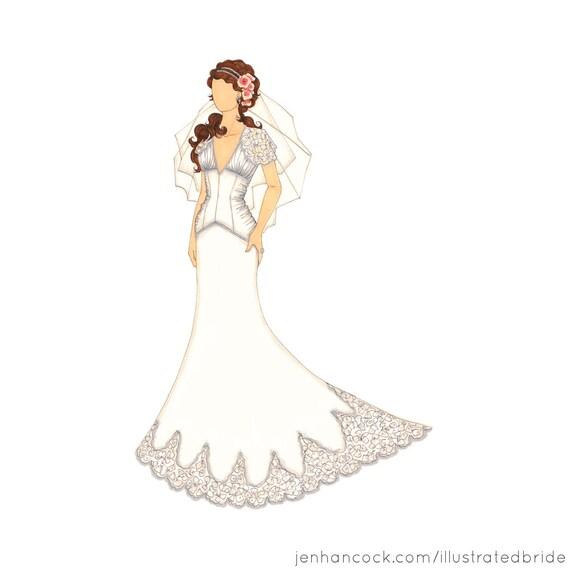 """Bridal Fashion Illustration - Custom Wedding Dress Sketch - Bridal Portrait - 8.5 x 11"""""""