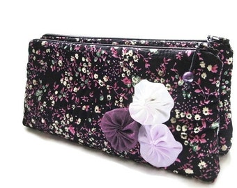 Wedding Clutches Set of 4, Black / Purple Cluthes, Bridesmaids Gift Bags, Purple Floral Purses