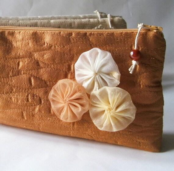 Burnt Orange Clutches, Silk Wedding Clutches, Set of 5, Bridesmaids Gift Bags, Garden Wedding Gifts