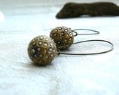 Blue and Mustard Handmade Ceramic Bead Earrings,Antique Bronze Earrings,OOAK