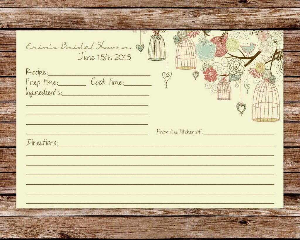 Modern Recipe Card Template Bridal shower recipe card
