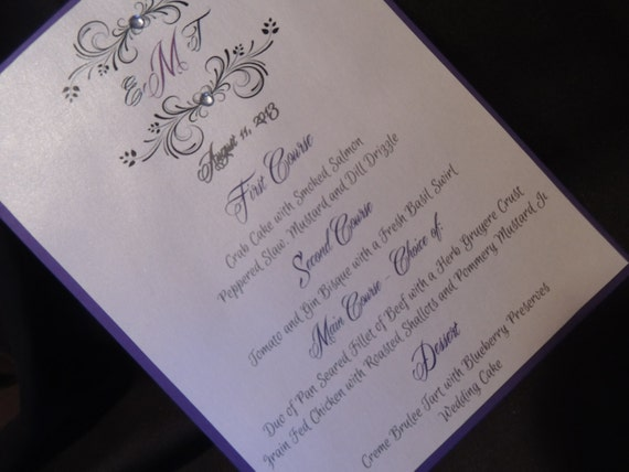 Monogram Table Menu - Wedding