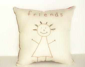Pillow Stitchery Personalized Primitive Original Design Folk Art Homespun Friends Hand Embroidered