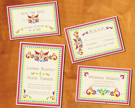 Boho Indian Wedding Invitation Set Printable Pdf / Print Order RUSTIC RANGOLI Destination Asian Srilankan Thai Nepali Hindu Punjabi Sikh New